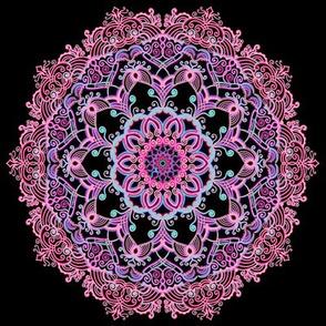 Mandala Pink on Black
