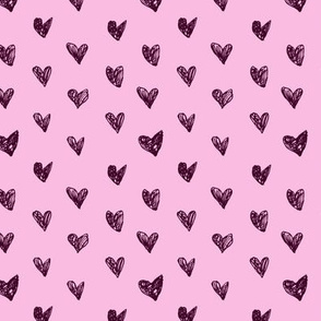 Doodle hearts on pink