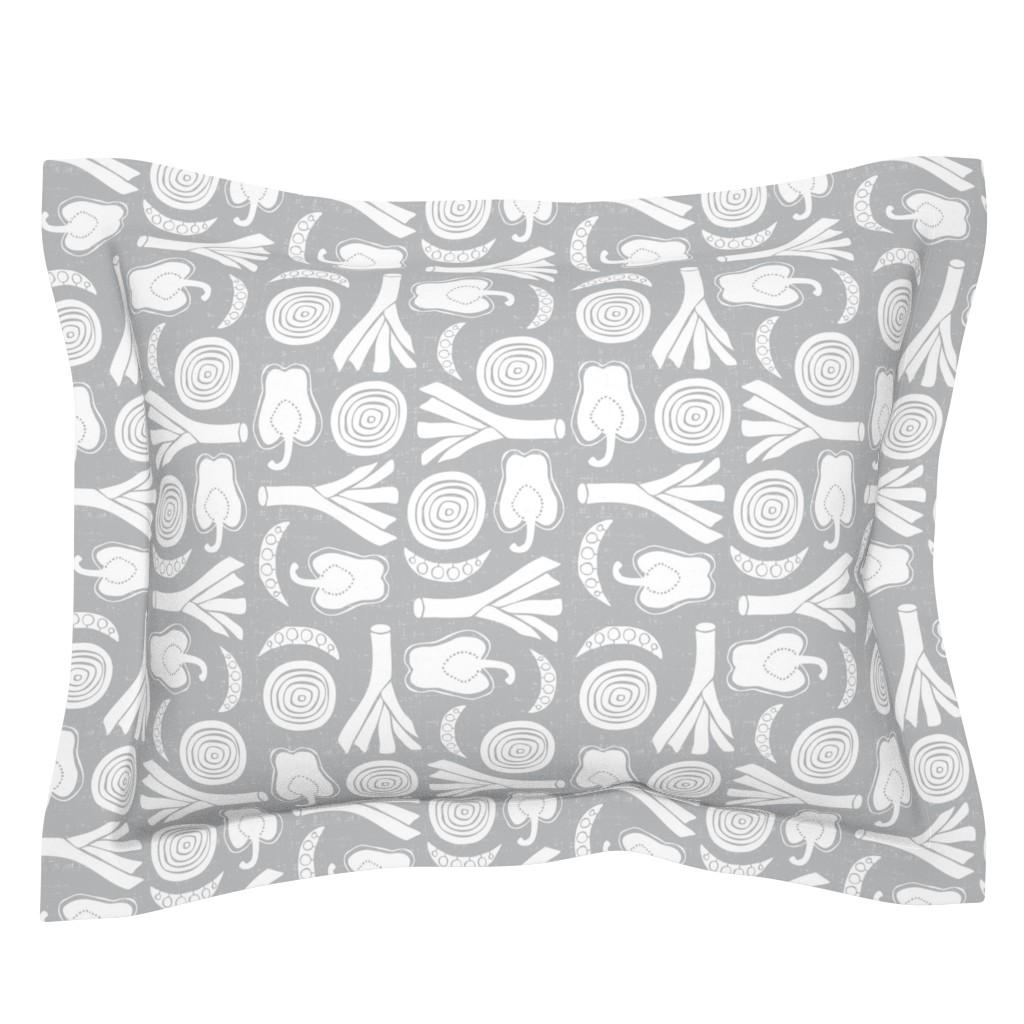 Sebright Pillow Sham featuring Eat Your Veggies - Grey & White by heatherdutton