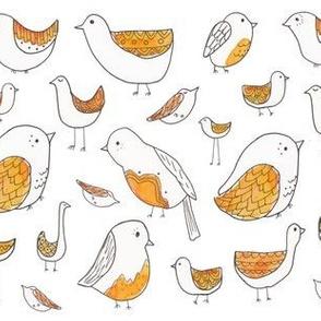 Orange Watercolor Folkart Bird Illustration
