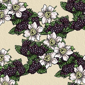 Blackberries and Flowers - Kraft Weave - Small Scale