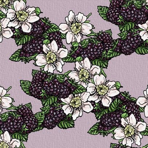 Blackberries and Flowers - Lavender Weave - Small Scale