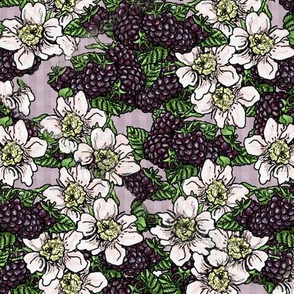 Blackberries and Flowers - Tossed - Lavender Gingham - Small Scale
