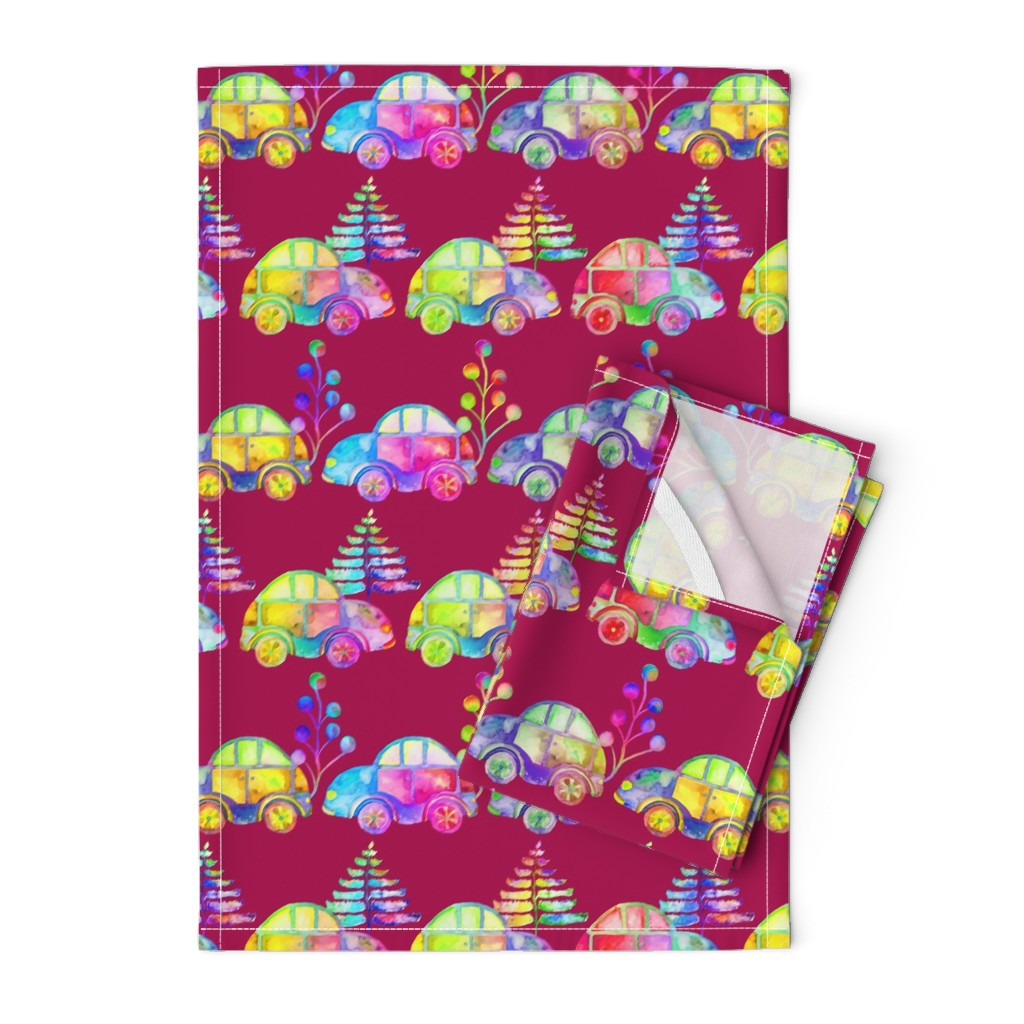 Orpington Tea Towels featuring WATERCOLOR PRETTY CARS PROCESSION TRAFFIC ON RASPBERRY BURGUNDY by paysmage