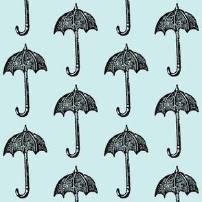 Rainy Days Vintage Umbrella (black & lt. aqua)