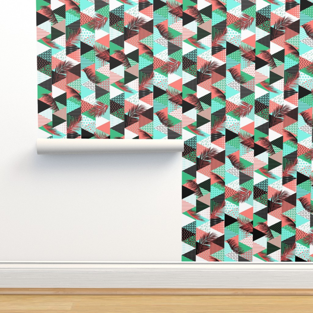 Isobar Durable Wallpaper featuring 21s Century Memphis Style Caribbean by wickedrefined