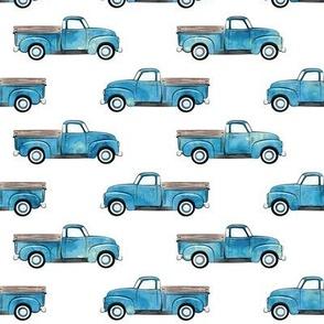 vintage truck - watercolor blue