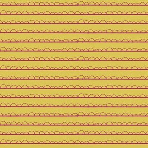 frilly stripe fuschia/mustard