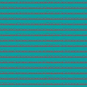 frilly stripe aqua/red