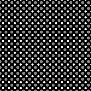 Black with gray and white dots