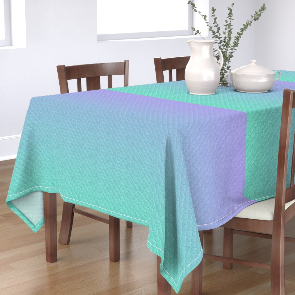 Bantam Rectangular Tablecloth featuring Mermaid scales ombre by aspie_giraffe