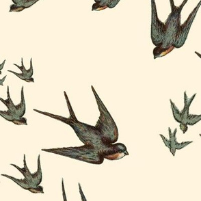 Descending Swallows in Eggshell