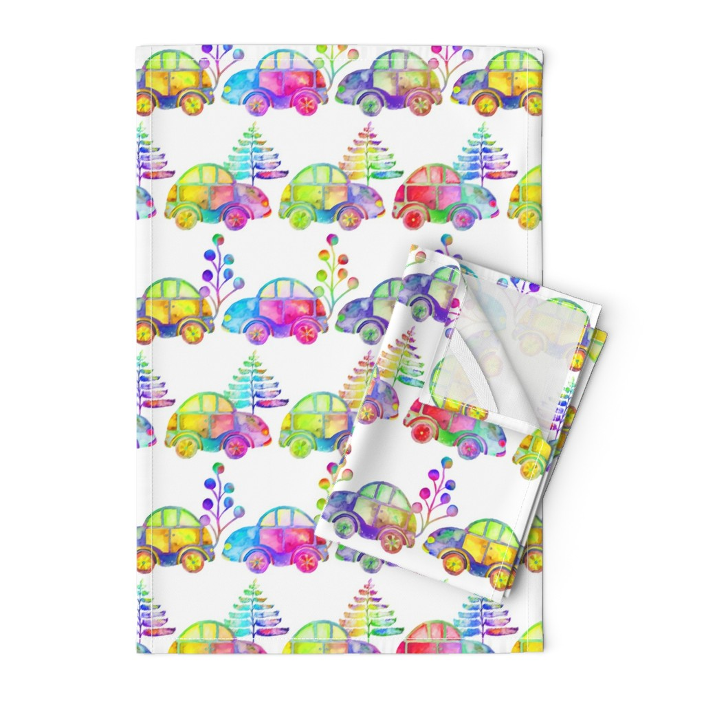 Orpington Tea Towels featuring WATERCOLOR PRETTY CARS PROCESSION TRAFFIC ON WHITE by paysmage