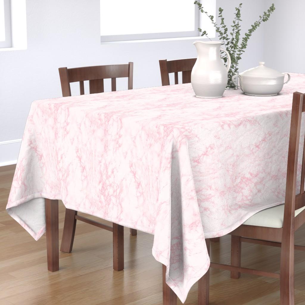 Bantam Rectangular Tablecloth featuring Marble White Pink by kimsa
