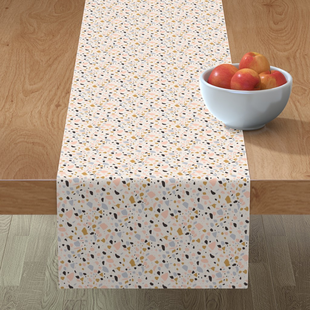 Minorca Table Runner featuring Terrazzo Coral - Gold by kimsa