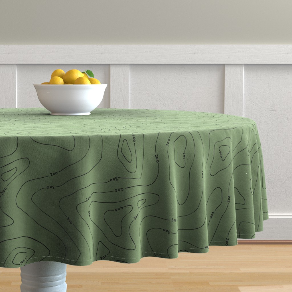 Malay Round Tablecloth featuring Contours green by ruthmaddockmakes
