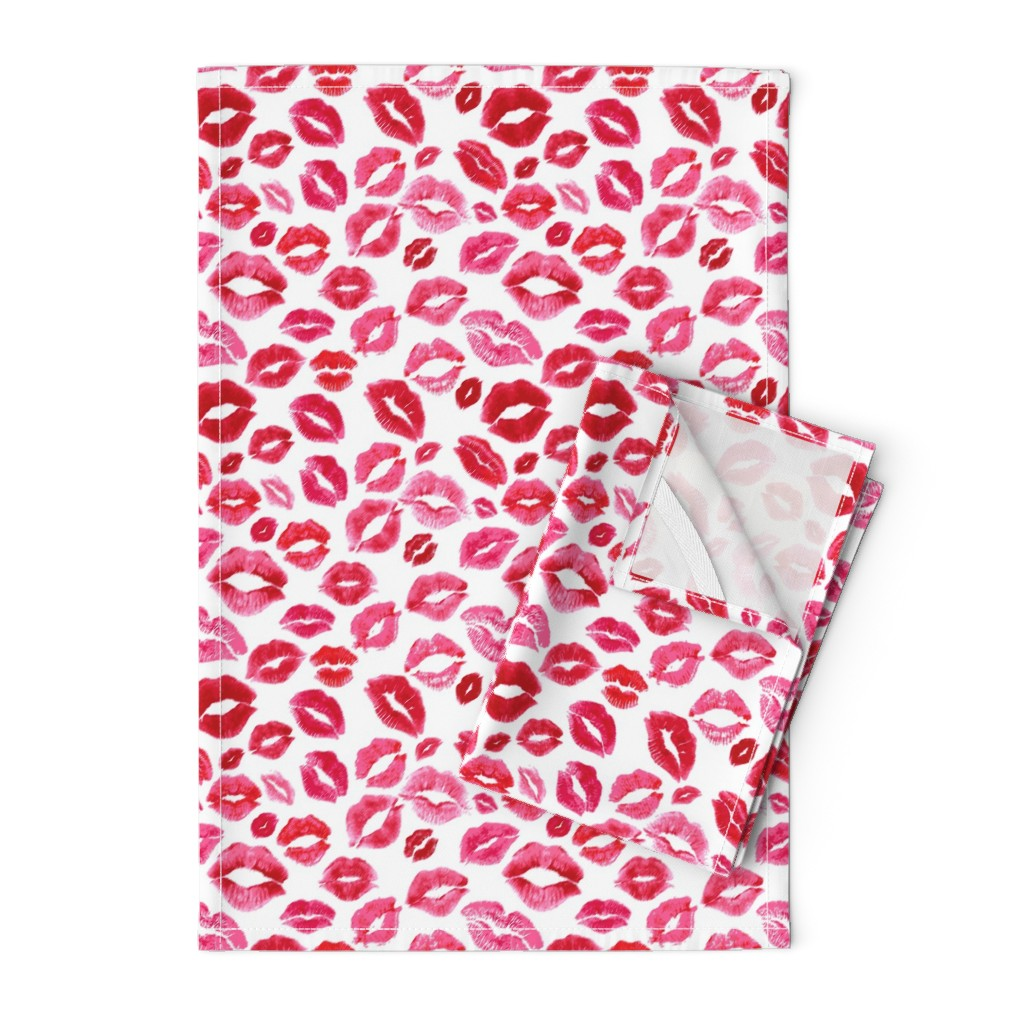 Orpington Tea Towels featuring Love Lips // Red by hipkiddesigns
