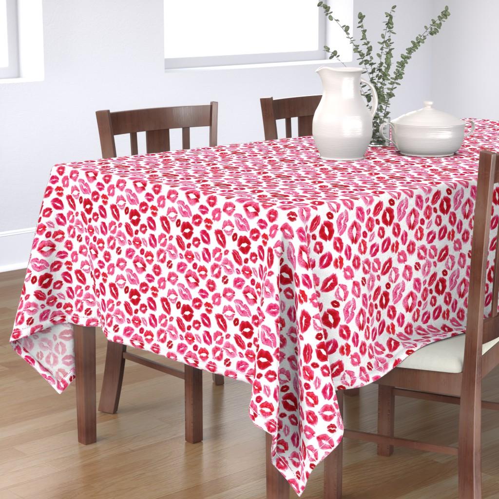 Bantam Rectangular Tablecloth featuring Love Lips // Red by hipkiddesigns