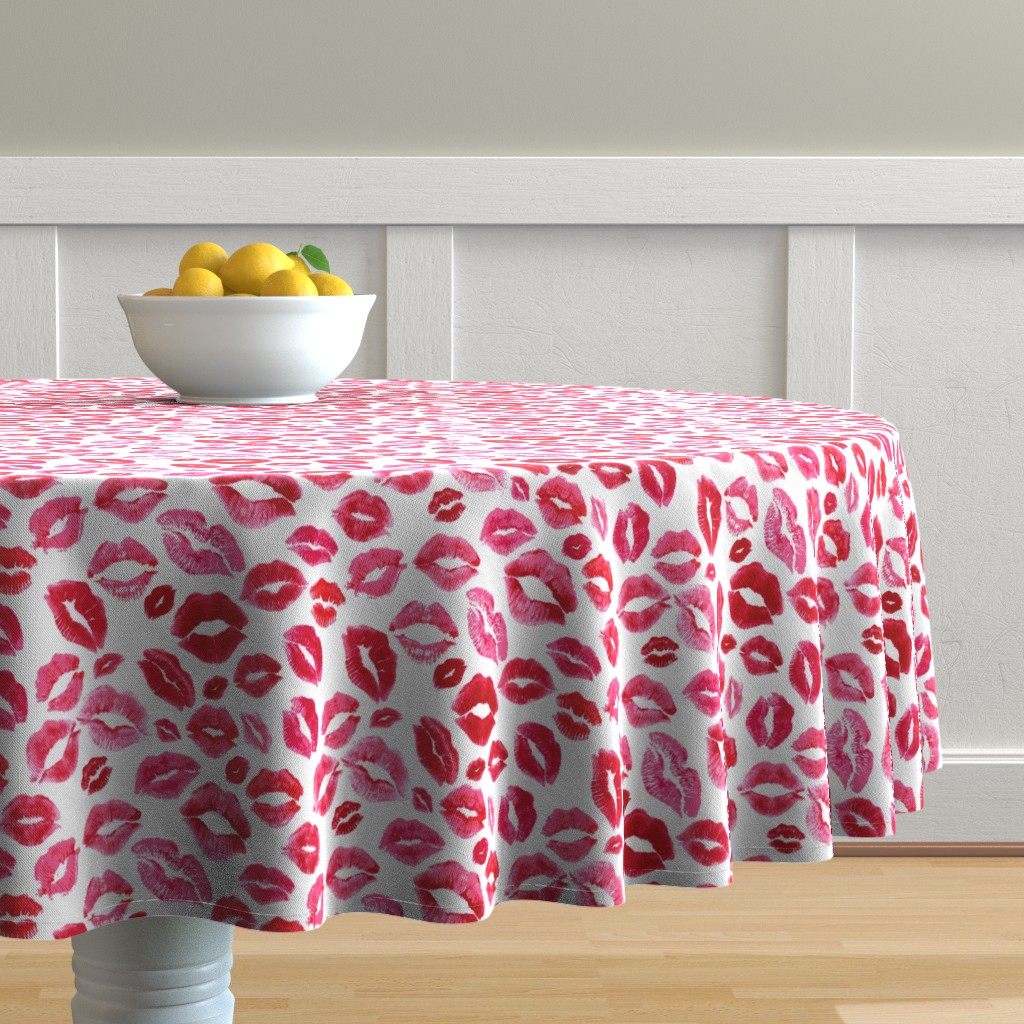 Malay Round Tablecloth featuring Love Lips // Red by hipkiddesigns