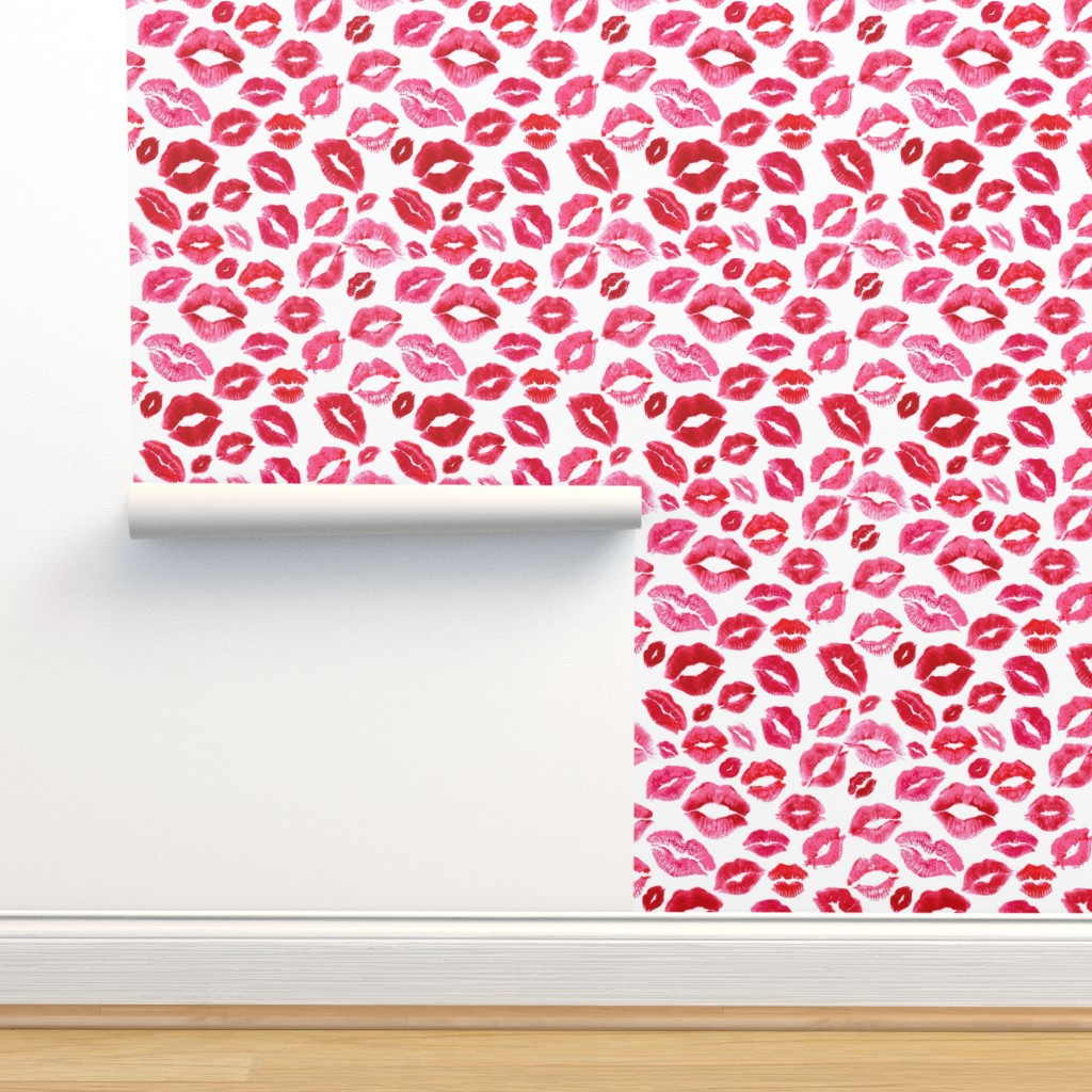 Isobar Durable Wallpaper featuring Love Lips // Red by hipkiddesigns