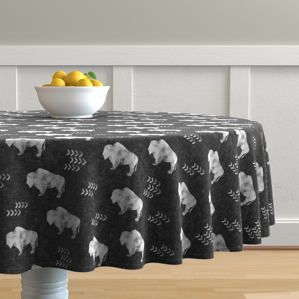 Malay Round Tablecloth featuring distressed buffalo on dark grey linen by littlearrowdesign