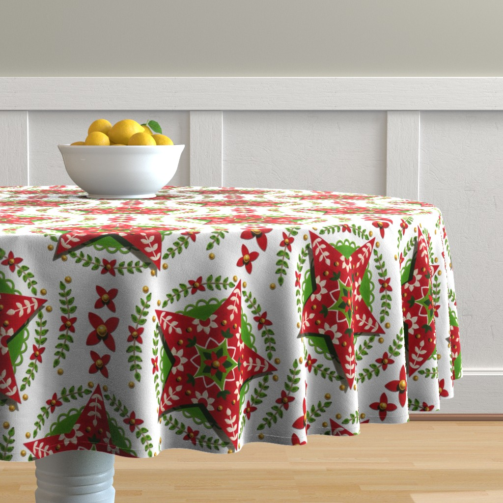 Malay Round Tablecloth featuring Folkloric Holiday Star by patriciasheadesigns