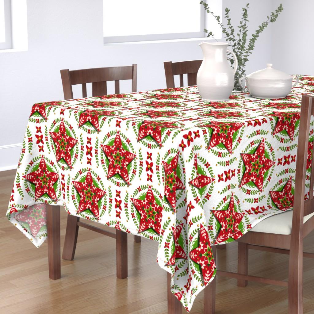 Bantam Rectangular Tablecloth featuring Folkloric Holiday Star by patriciasheadesigns