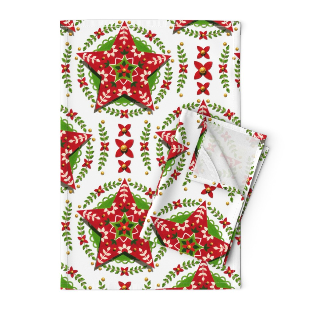 Orpington Tea Towels featuring Folkloric Holiday Star by patriciasheadesigns