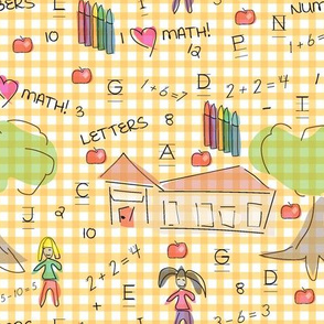 Caitlin Loves Numbers -Yellow Gingham