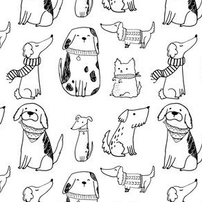 Dogs and Puppies Illustration / Dog Pattern / Black and White Dog