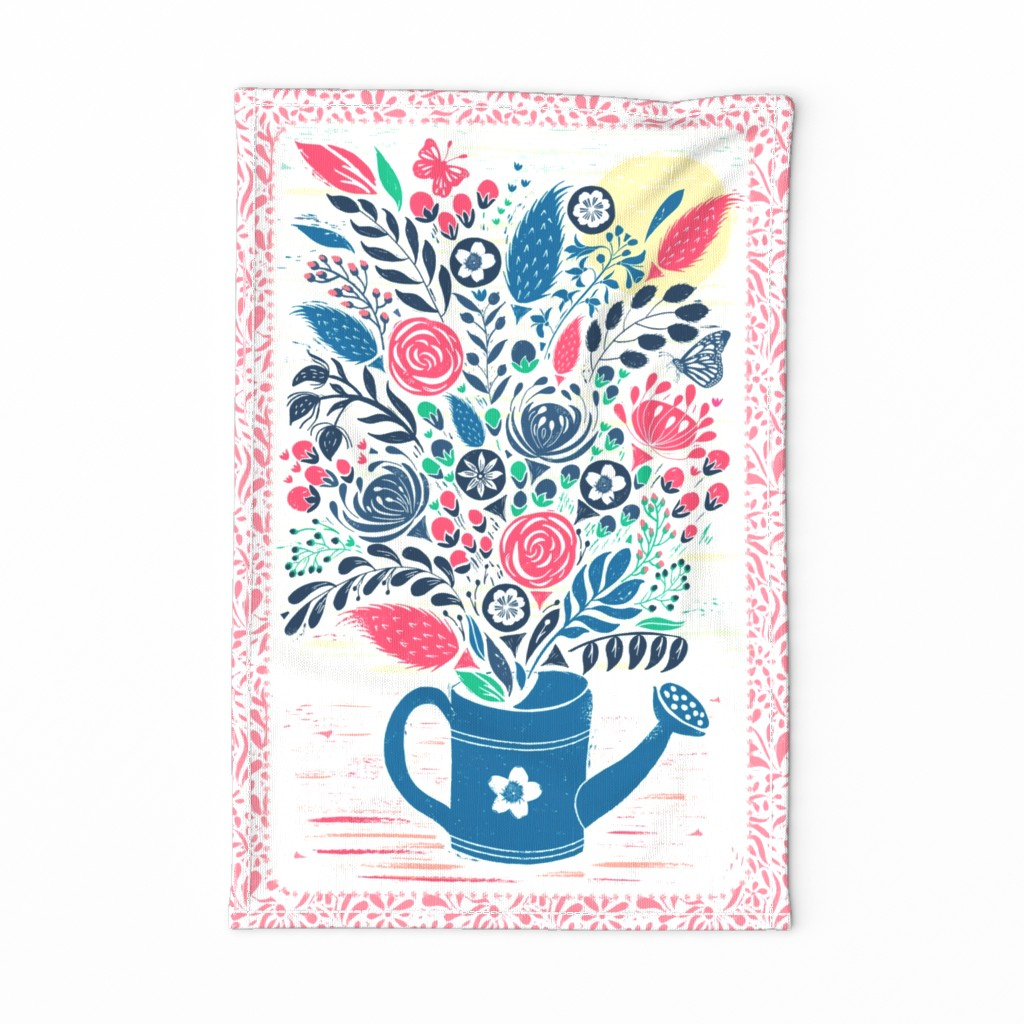 Botanical Block Print Flowers on Special Edition by