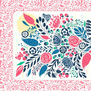 Botanical Block Print Flowers
