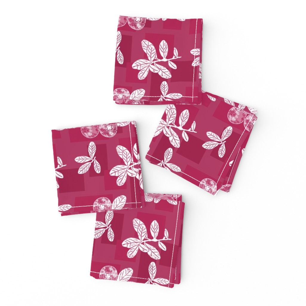 Frizzle Cocktail Napkins featuring Cranberry Red Block Print by theartofvikki