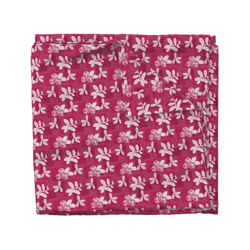 Wyandotte Duvet Cover featuring Cranberry Red Block Print by theartofvikki