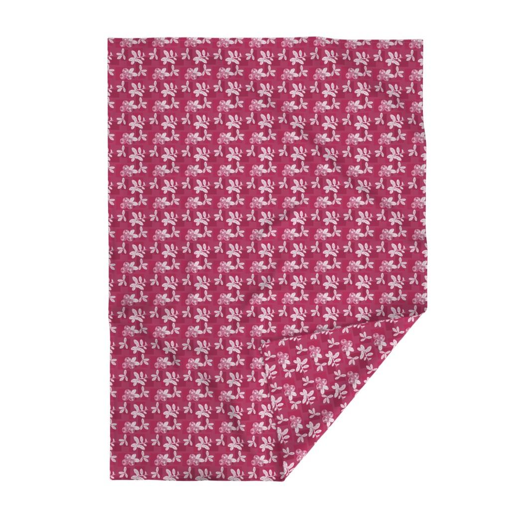 Lakenvelder Throw Blanket featuring Cranberry Red Block Print by theartofvikki