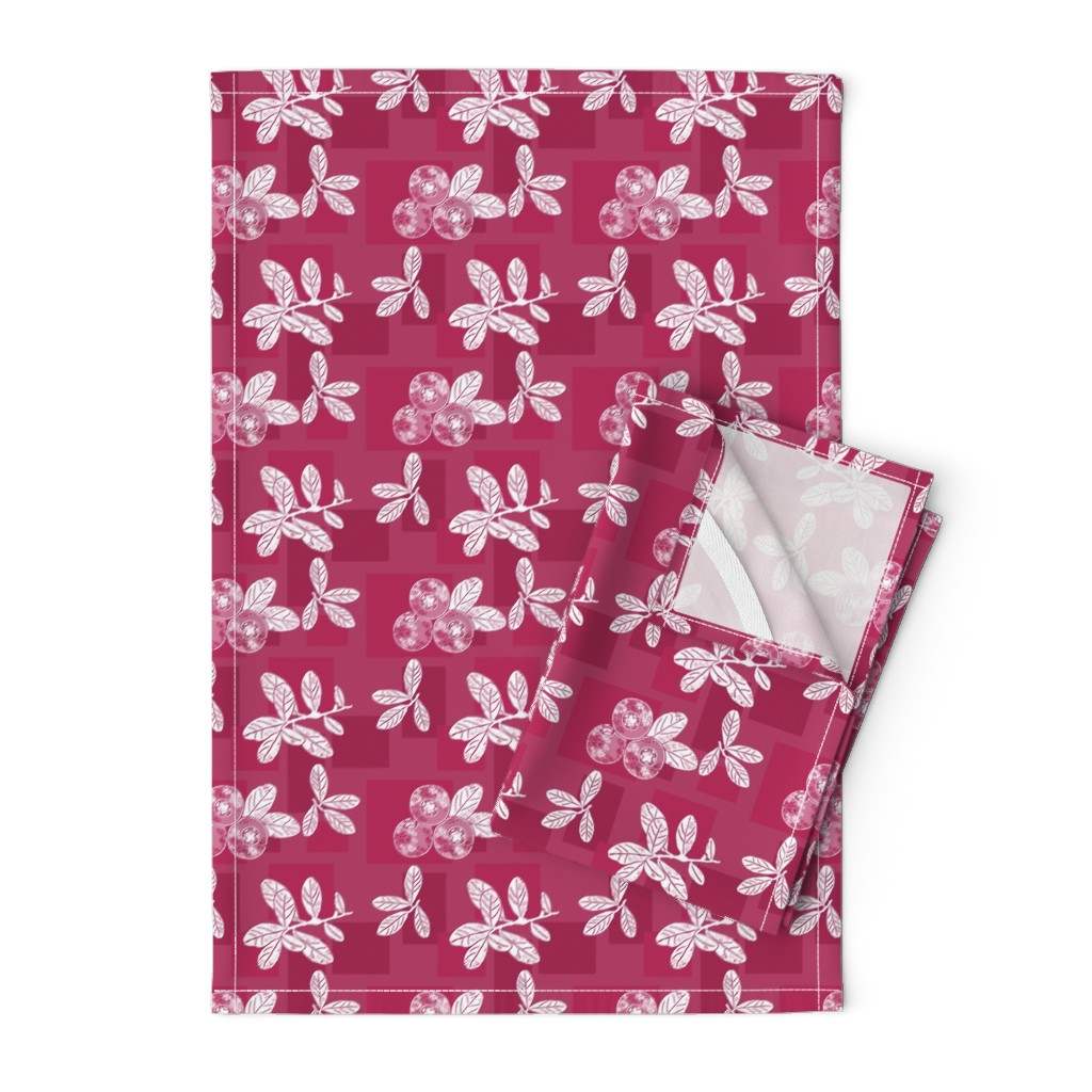 Orpington Tea Towels featuring Cranberry Red Block Print by theartofvikki