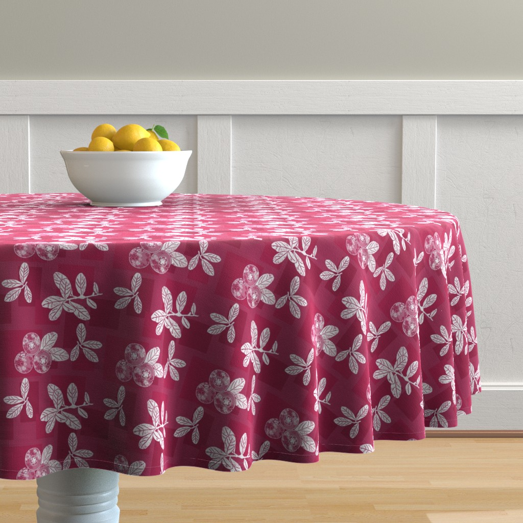 Malay Round Tablecloth featuring Cranberry Red Block Print by theartofvikki