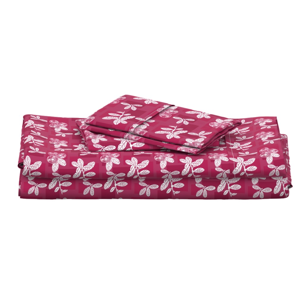 Langshan Full Bed Set featuring Cranberry Red Block Print by theartofvikki