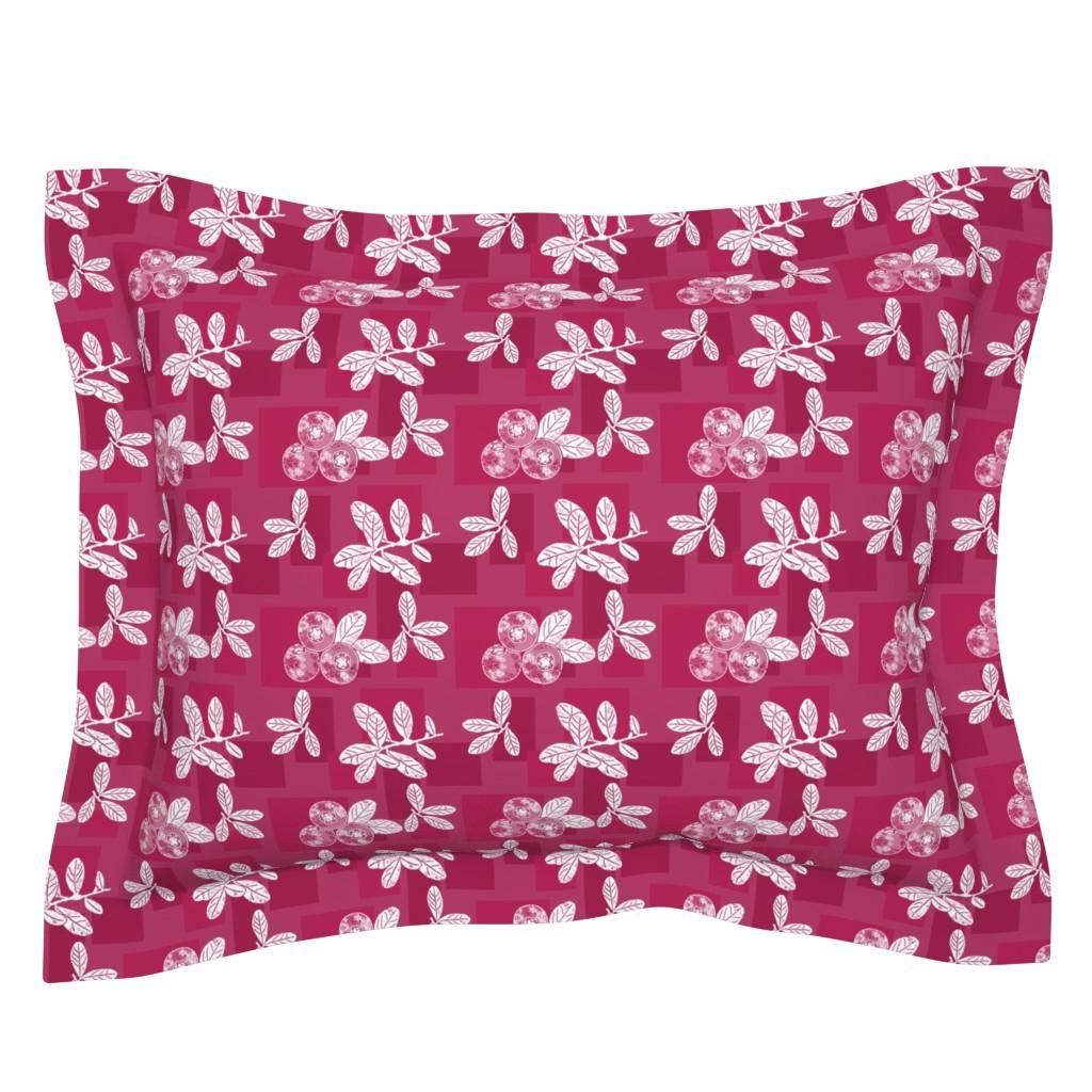 Sebright Pillow Sham featuring Cranberry Red Block Print by theartofvikki
