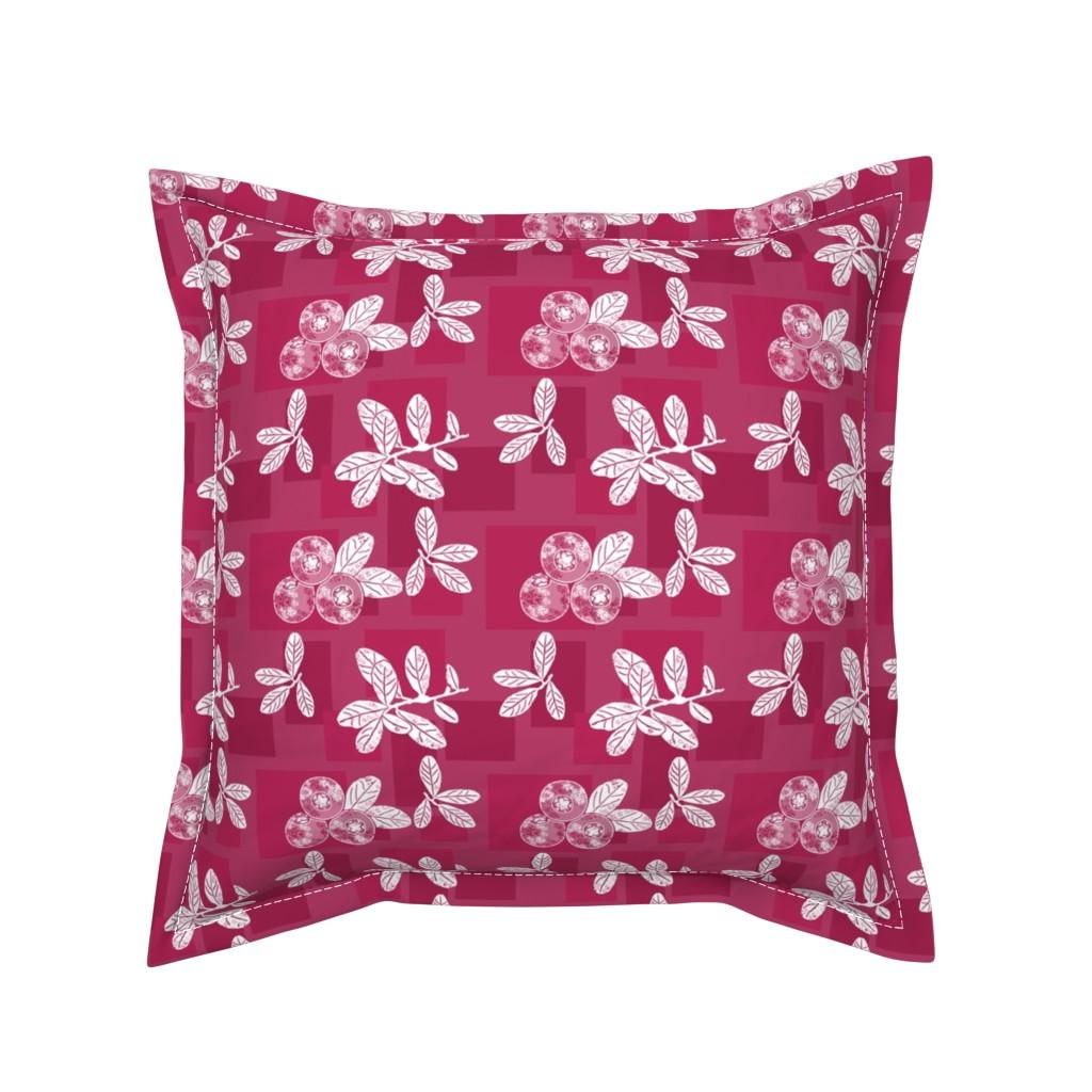 Serama Throw Pillow featuring Cranberry Red Block Print by theartofvikki