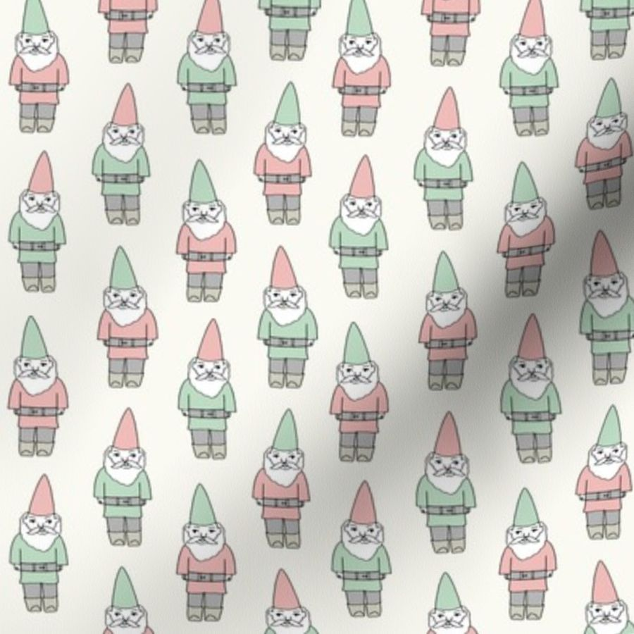 Christmas Gnomes Clipart.Fabric By The Yard