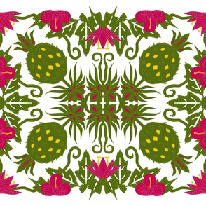 Hawaiian_Flowers_and_Pineapple_cheater_quilt_7