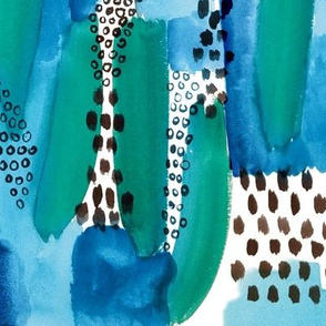 Abstract Watercolor Brushstroke in Blue Green