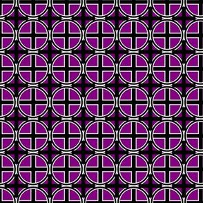 Circle Cross on Purple Grid