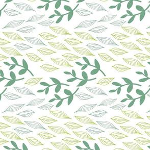 Botanical Block Prints Green Leaves