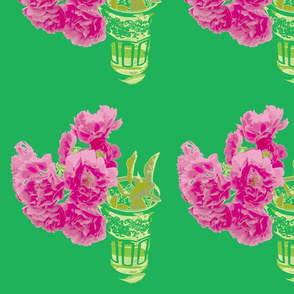 Moroccan tea glass tea roses green