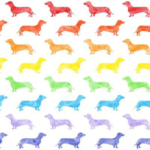 Weiner dog fabric - Dachshund -  watercolor rainbow