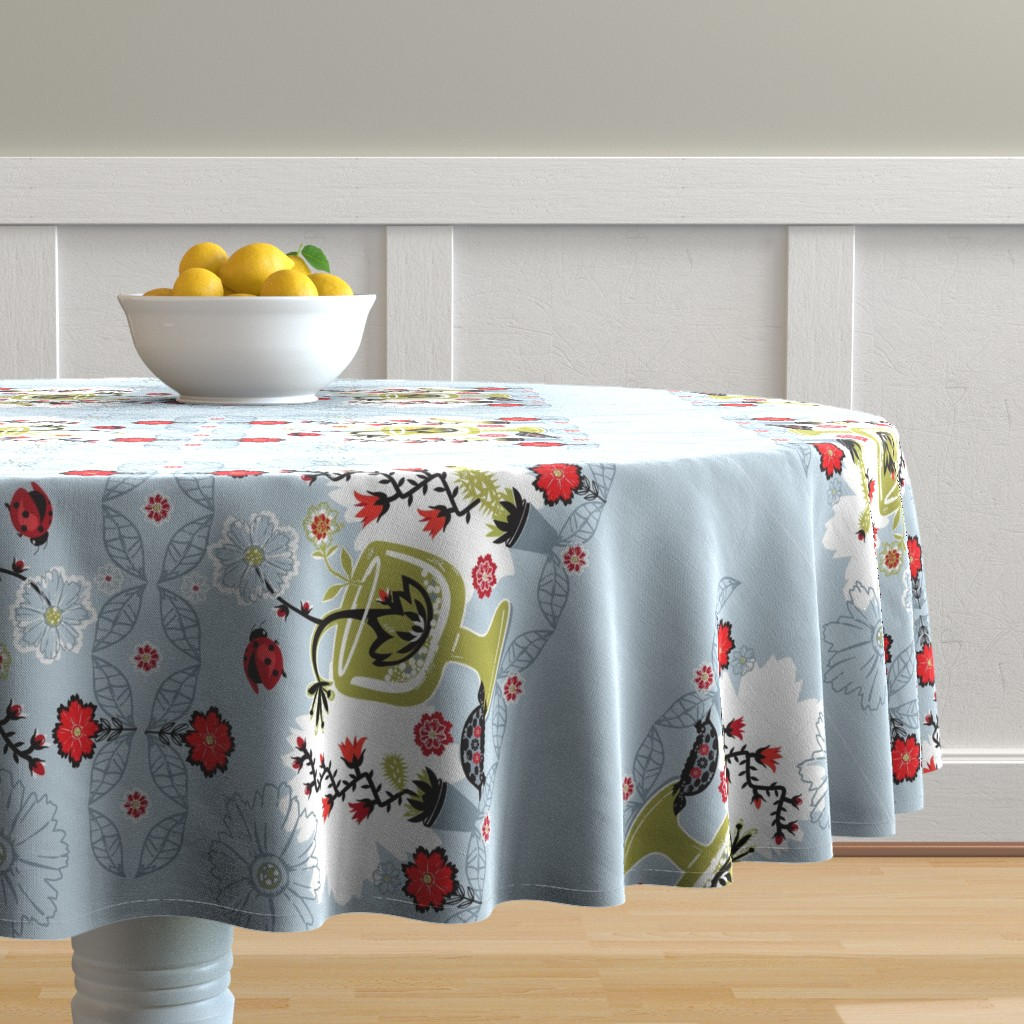 Malay Round Tablecloth featuring Botanical Flower Power by clarkyworks