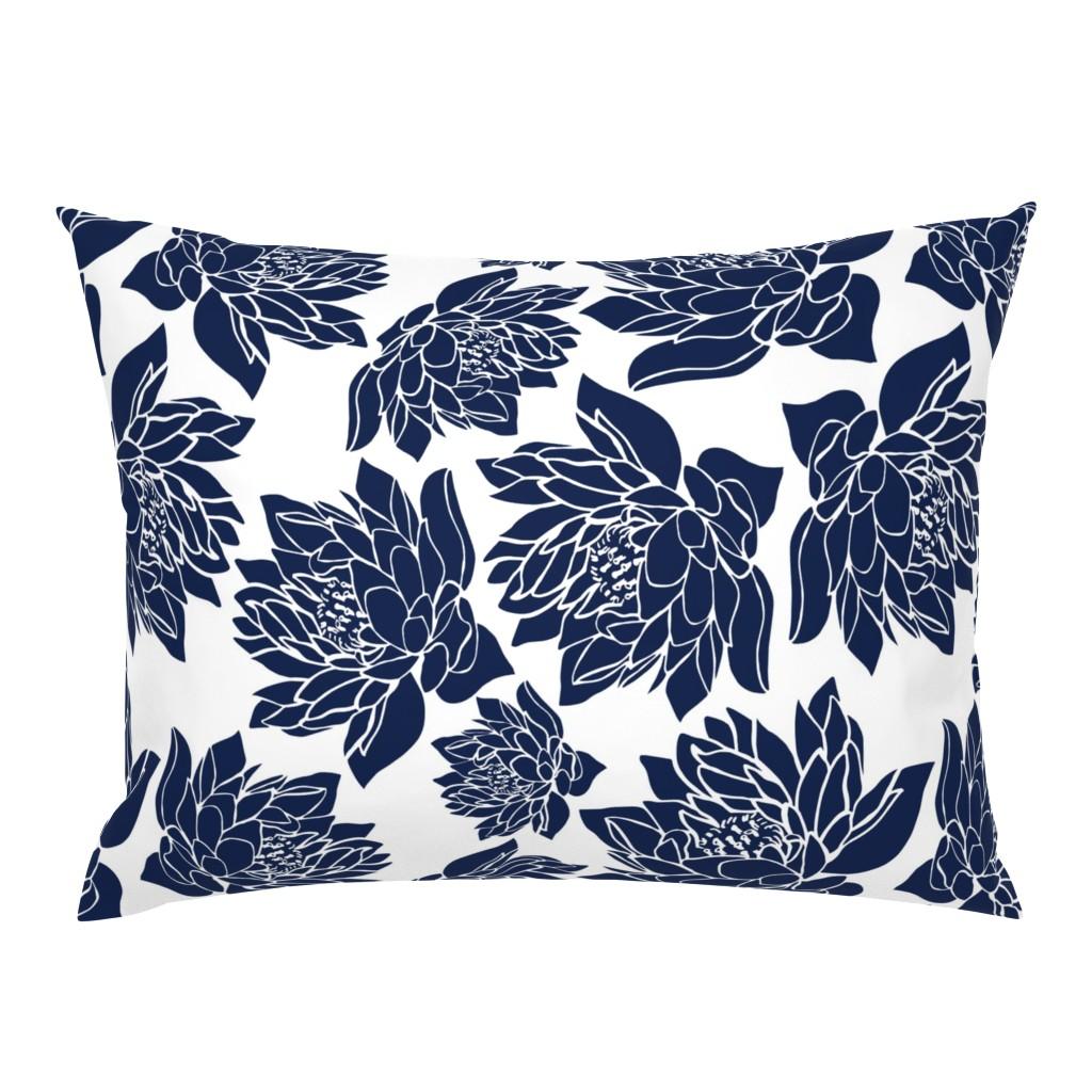 Campine Pillow Sham featuring LARGE_WATERLILIES_BLUE_TEA TOWEL by kirstenkatz
