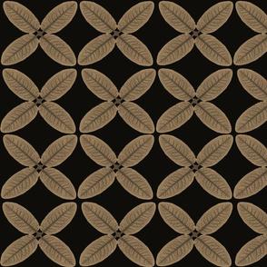Taupe leaves on black